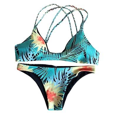 Amphia Traje De BañO Mujer BrasileñO, Sujetador Push-up Estampado Traje de baño de impresión Baño Sexy Mujer Bikini Set Traje de baño: Amazon.es: Ropa y ...
