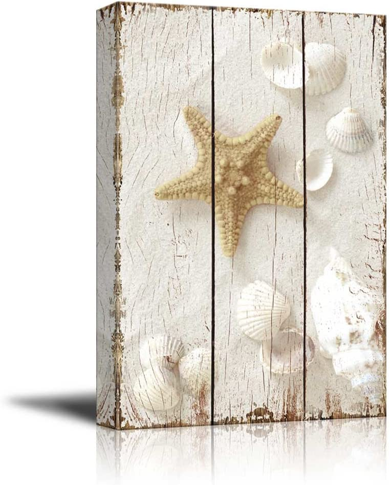 Star Fish and Sea Shells on The Sand - Canvas Art Wall Art - 16