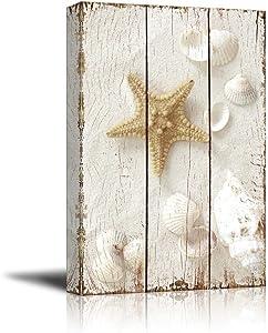 "wall26 - Star Fish and Sea Shells on The Sand - Canvas Art Wall Art - 16""x24"""