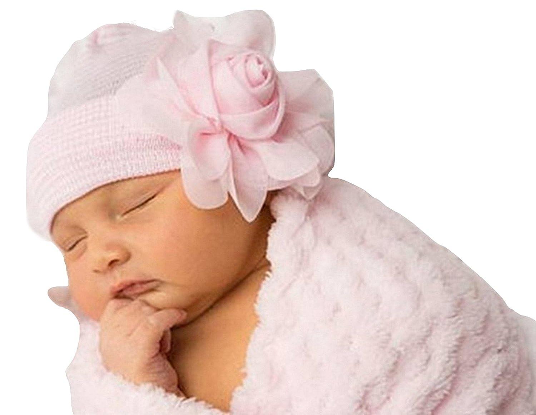 PICCOLI MONELLI Cappello neonata Invernale Elegante con Rosa in Raso e Perle Colore Rosa Circonferenza 45 47 cm