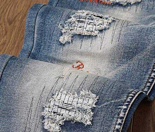 Elásticos Pantalones Jeans Regular De Algodón Denim Pantalones Dril De Pantalones Los Midi Delgados Los 3 del Ropa Fit Pretina Vaqueros Rectos Vaqueros Hombres Sin De ORwqTRP