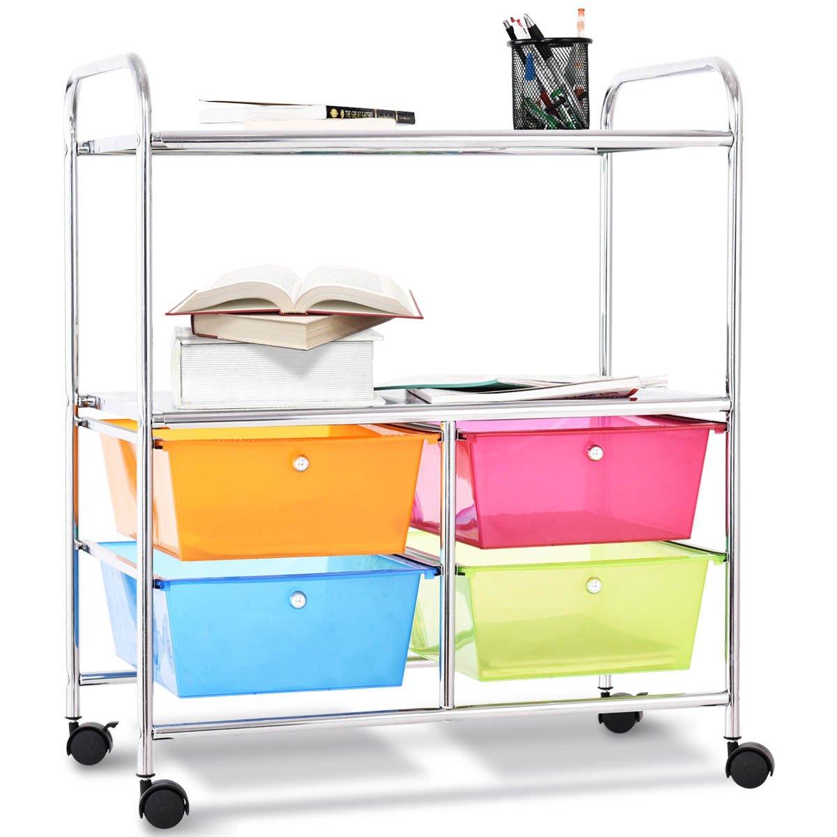 Giantex Rolling Storage Cart w/ 4 Drawers 2 Shelves Metal Rack Shelf Home Office School Beauty Salon Utility Organizer Cart with Wheels (Blue Green Orange & Red) by Giantex (Image #2)