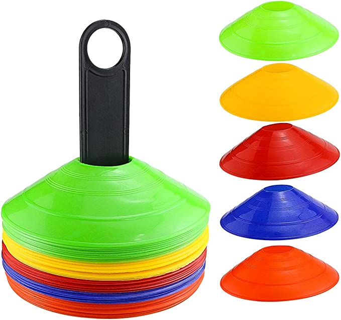 10pcs 5 Colors Soccer Practice Cone Football Training Marker Set Football Barriers Plastic Marker Holder Accessory Soccer Markers Set