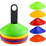 Faxco 50 Pcs Mark Disk, Soccer Cones with Holder for Training, Football, Sports, Field Cone Markers Outdoor Games…