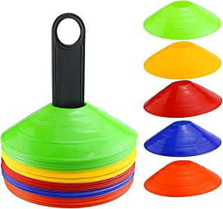 Faxco 50 Pcs Mark Disk, Soccer Cones with Holder for Training, Football, Sports, Field Cone Markers Outdoor Games Supplies(5 Colors)