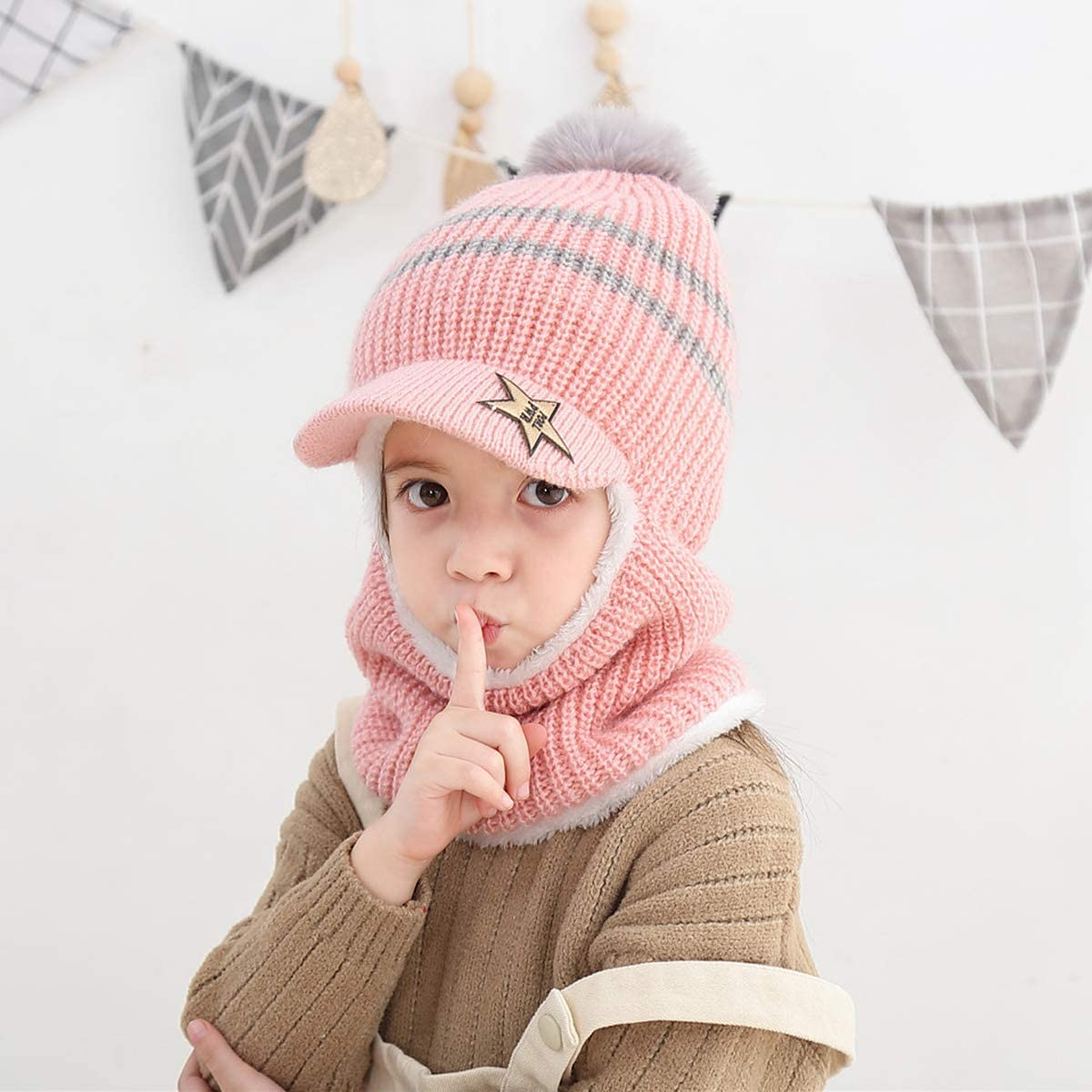 Baby Girls Boys Winter Hat Scarf Earflap Hood Scarves Skull Caps Blue