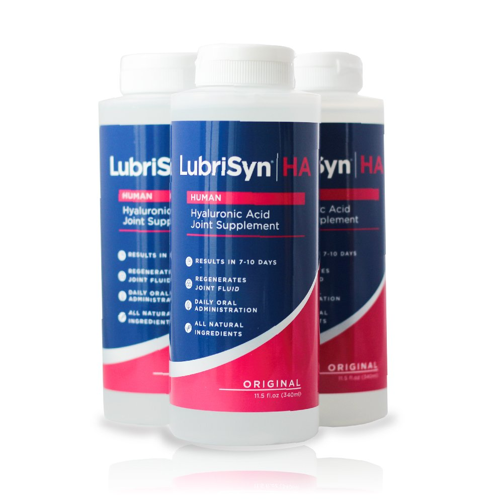 LubriSynHA Human Joint Supplement, Original 3 x 11.5oz – All-Natural, High-Molecular Weight Hyaluronic Acid HA - Joint Support for Women & Men – Promotes Healthy Joint Function, Made in USA, Vegan