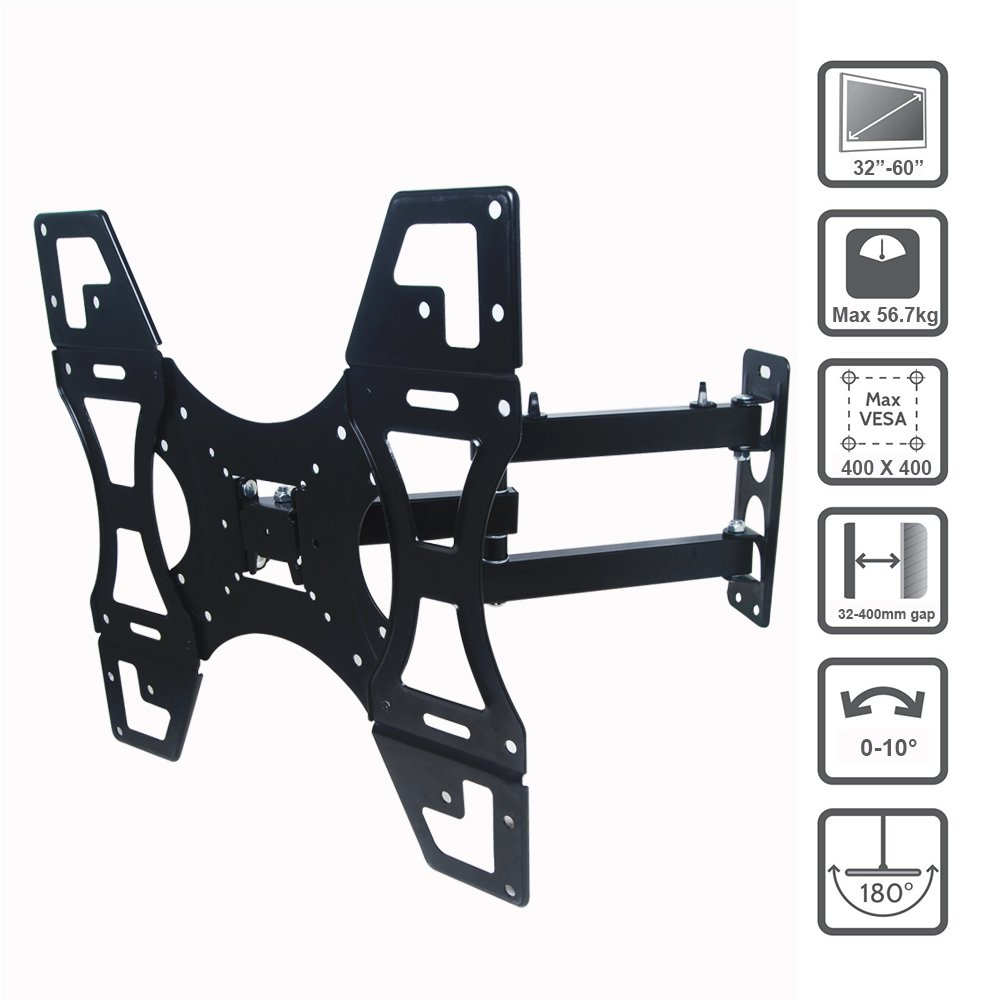 Excellent TV Wall Bracket 32-60 Inch Max VESA 400*400mm Super Strong 125 lbs Weight Capacity