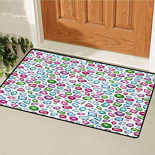 GUUVOR Diamond Welcome Door mat Heart and Geometric Shaped Colorful Little Diamonds Precious Gemstones Crystals Pattern Door mat is odorless and Durable W31.5 x L47.2 Inch Multi