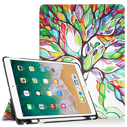 Fintie Case with Built-in Apple Pencil Holder for iPad Air 10.5 (3rd Gen) 2019 / iPad Pro 10.5 2017 - [SlimShell] Ultra Lightweight Standing Protective Cover with Auto Wake/Sleep, Love Tree
