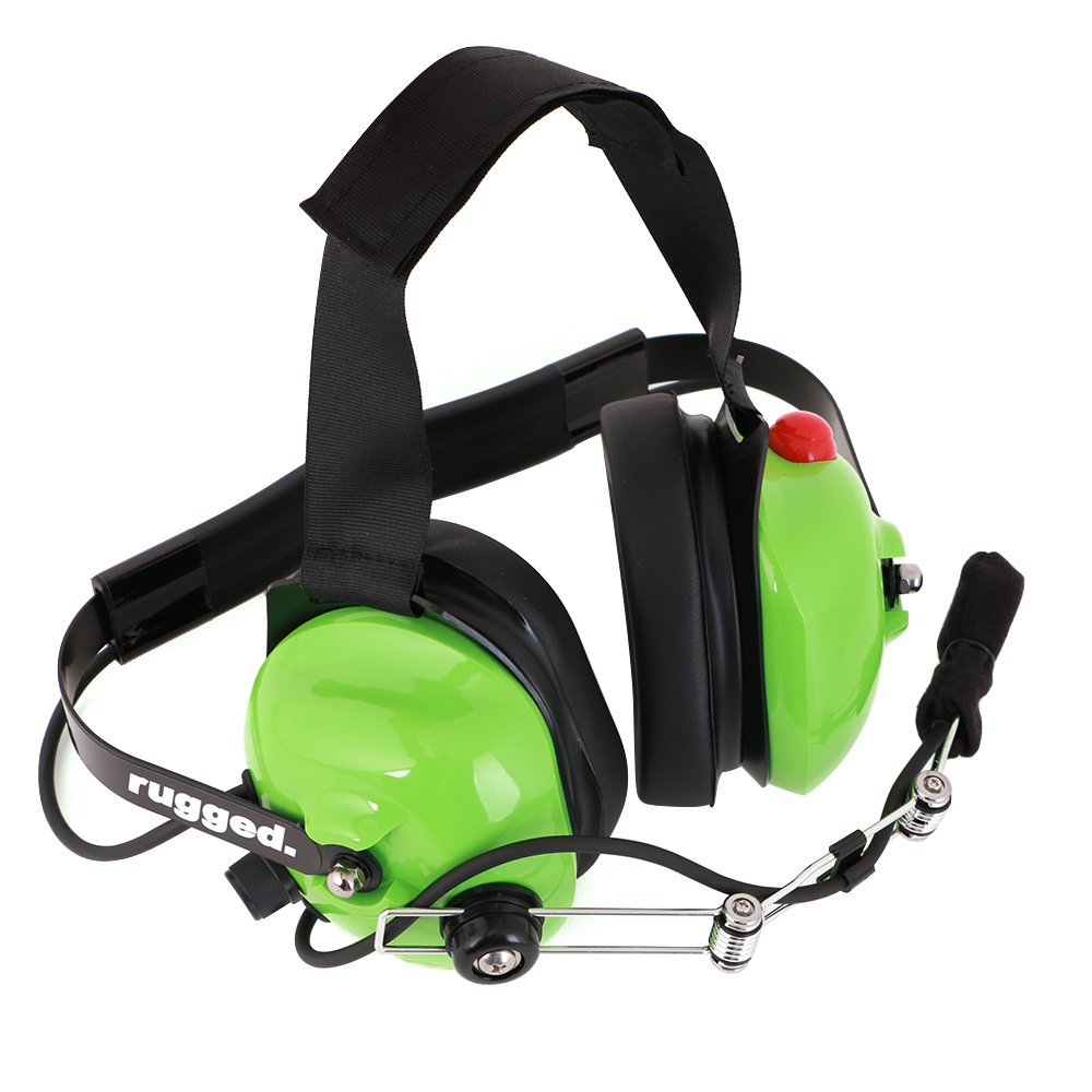 Rugged Radios H42-GREEN Behind The Head Two-Way Radio Headset with Dynamic Noise Cancelling Microphone, Push to Talk, and 3.5mm Input Jack for Music & MP3 Players