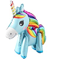 Self Stand steadily Unicorn Birthday Party Decorations Supplies Wedding Engagement Children's Day Foil Unicorn Horse Animal Balloons Toy (Blue)