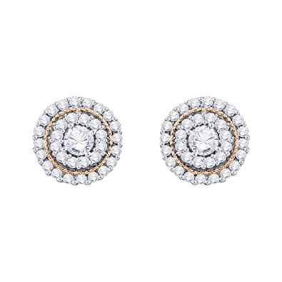 8470ebdcf KATARINA Diamond Halo Milgrain Cluster Stud Earrings in Gold or Silver (1/2  cttw, G-H, VS2-SI1)