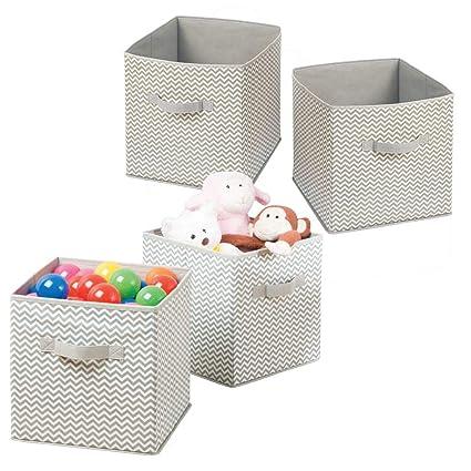 mDesign Juego de 4 Cajas para organizar juguetes - Caja de tela para artículos de bebé
