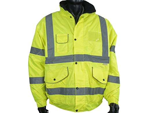 Hi Vis Mens Bomber Jacket Safety Security Workware Reflective Tape Waterproof