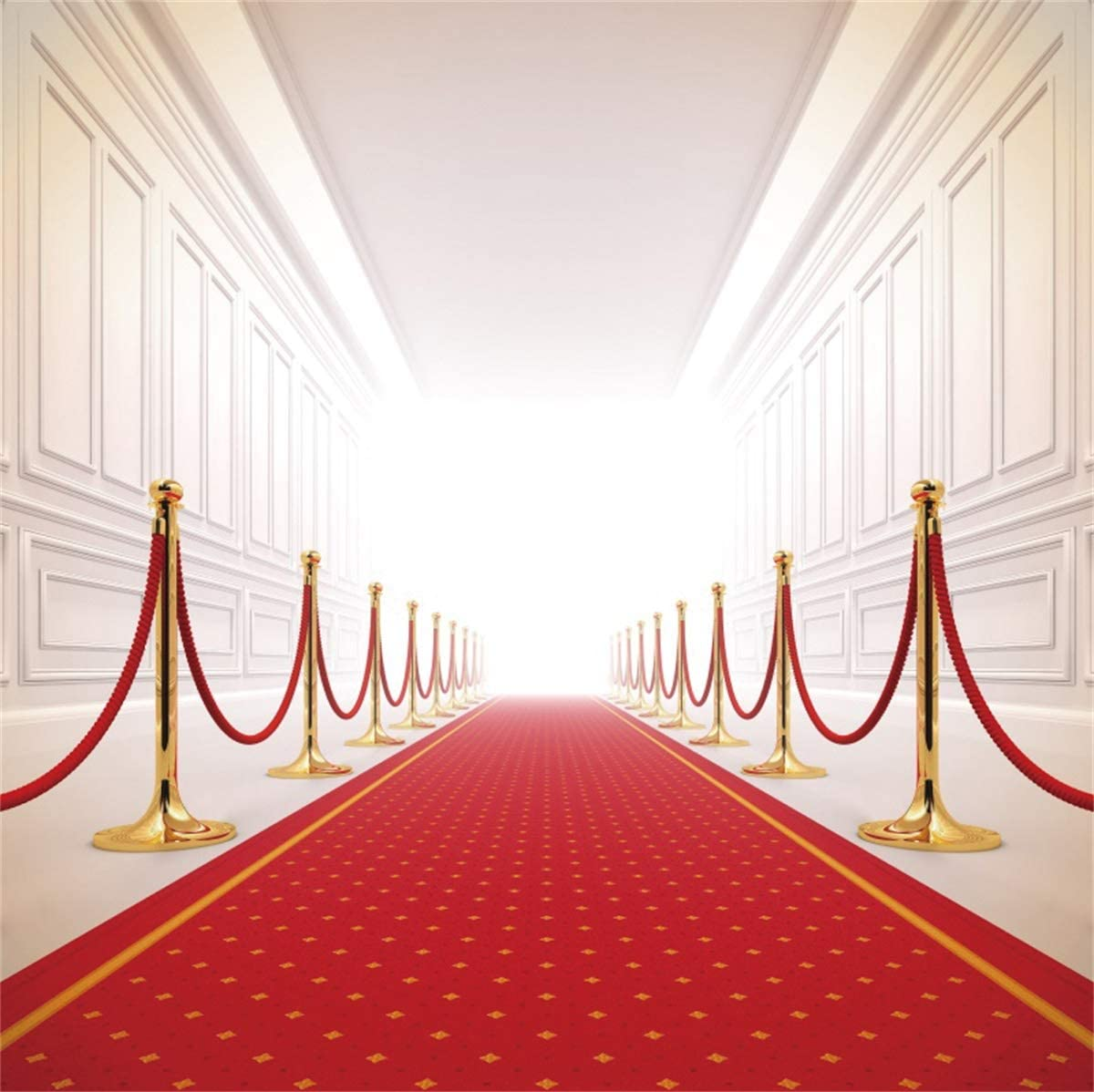 YEELE Luxury Red Carpet Event Backdrop 6.5x6.5ft Gala Prestige Cinema Hall Success Photography Background Birthday Quinceanera Wedding Stage Kids Adults Portrait Photobooth Props Digital Wallpaper