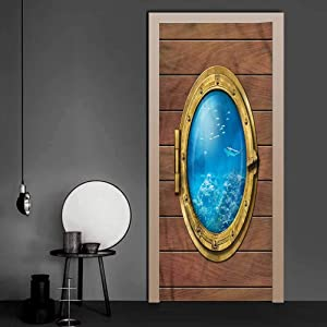 Wall Decals Shark, Submarine Chamber Window 3D Self-Adhesive Door Wrap Murals Used on Wooden Closet Door 17.1 x 78.7 Inch