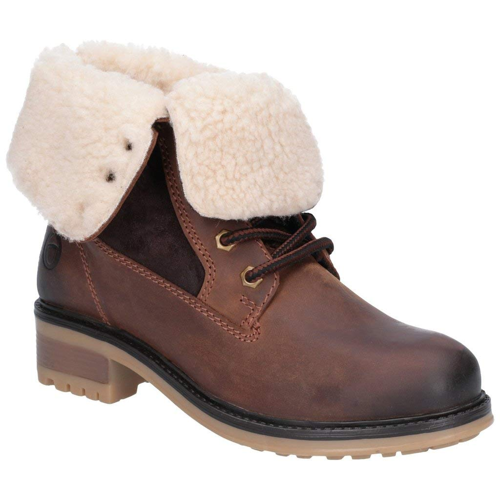 Brown Cotswold Womens Ladies Marsden Lace Up Leather Mid Boot