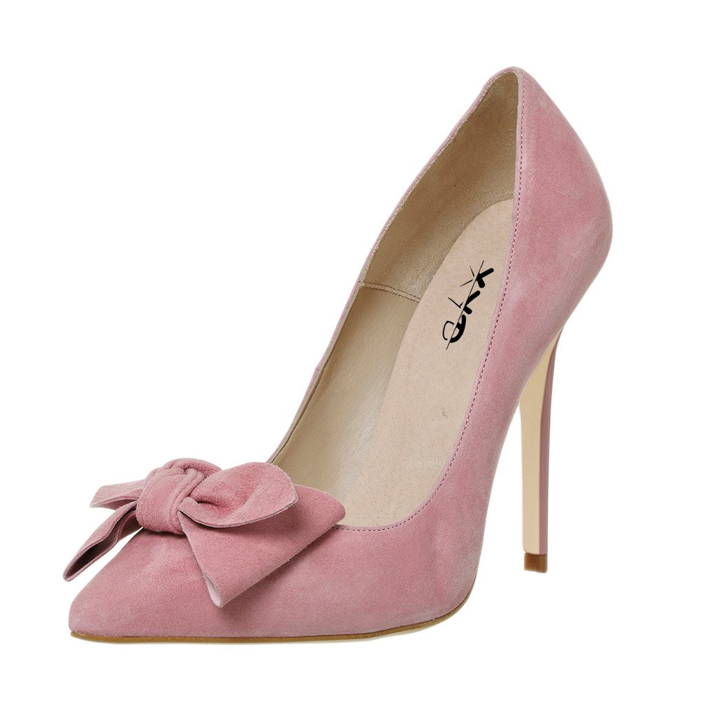 XYD Elegant Pointy Toe Pumps Lovely Bowknot Slip On Shoes Dress Stiletto High Heels for Women B074FVXP69 15 B(M) US|Pink