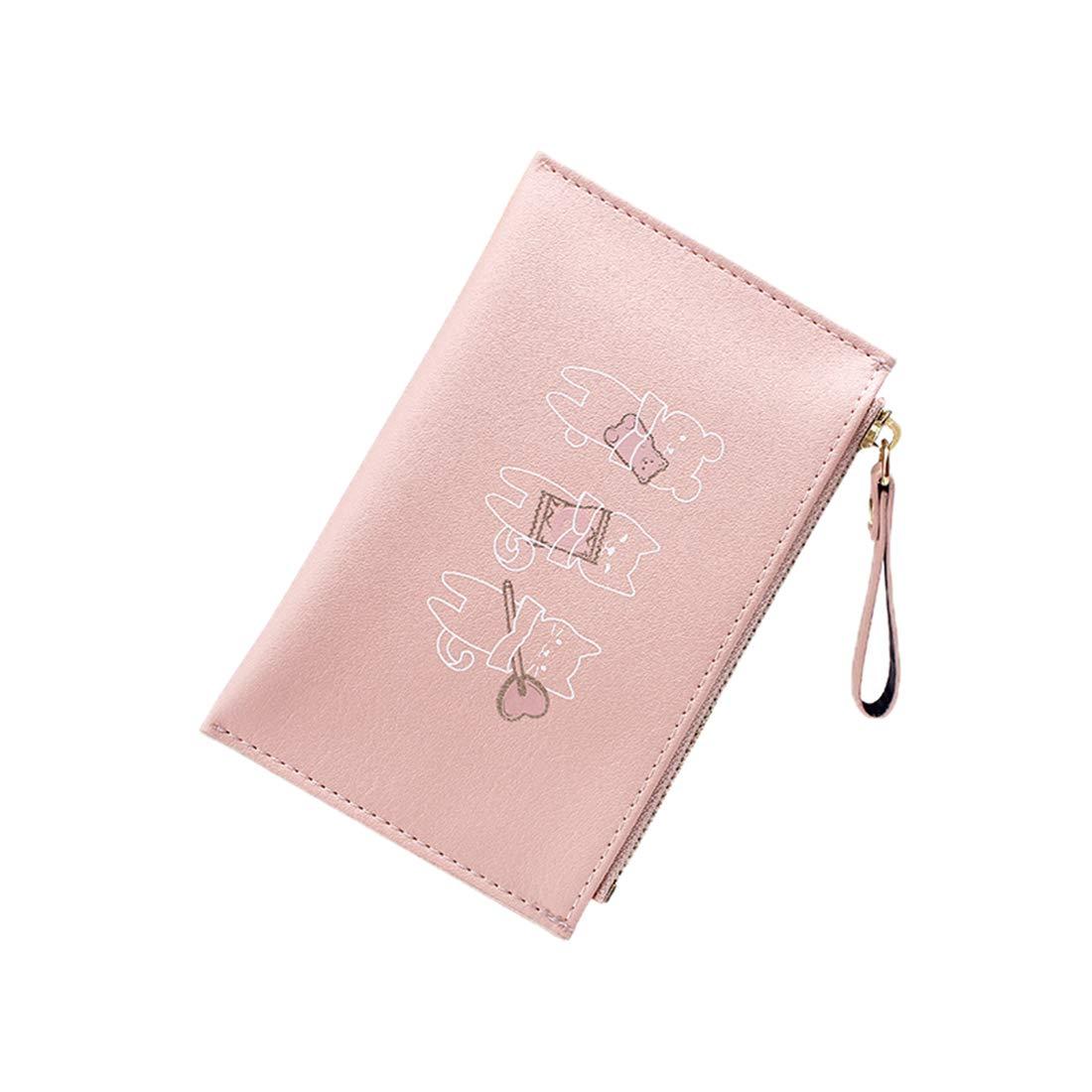 Jnday Kurz Dünn Portemonnaie Hotstyle Cute Geldbörse Girl Geldbeutel Hochwertig Campus Brieftasche mit Muster Wallet Reißverschluss Handtasche (Grau)