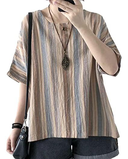c2d77b36fd3 UUYUK-Women Summer Loose Fit Half Sleeve Cotton Linen Striped Color Block  Tops Blouse one