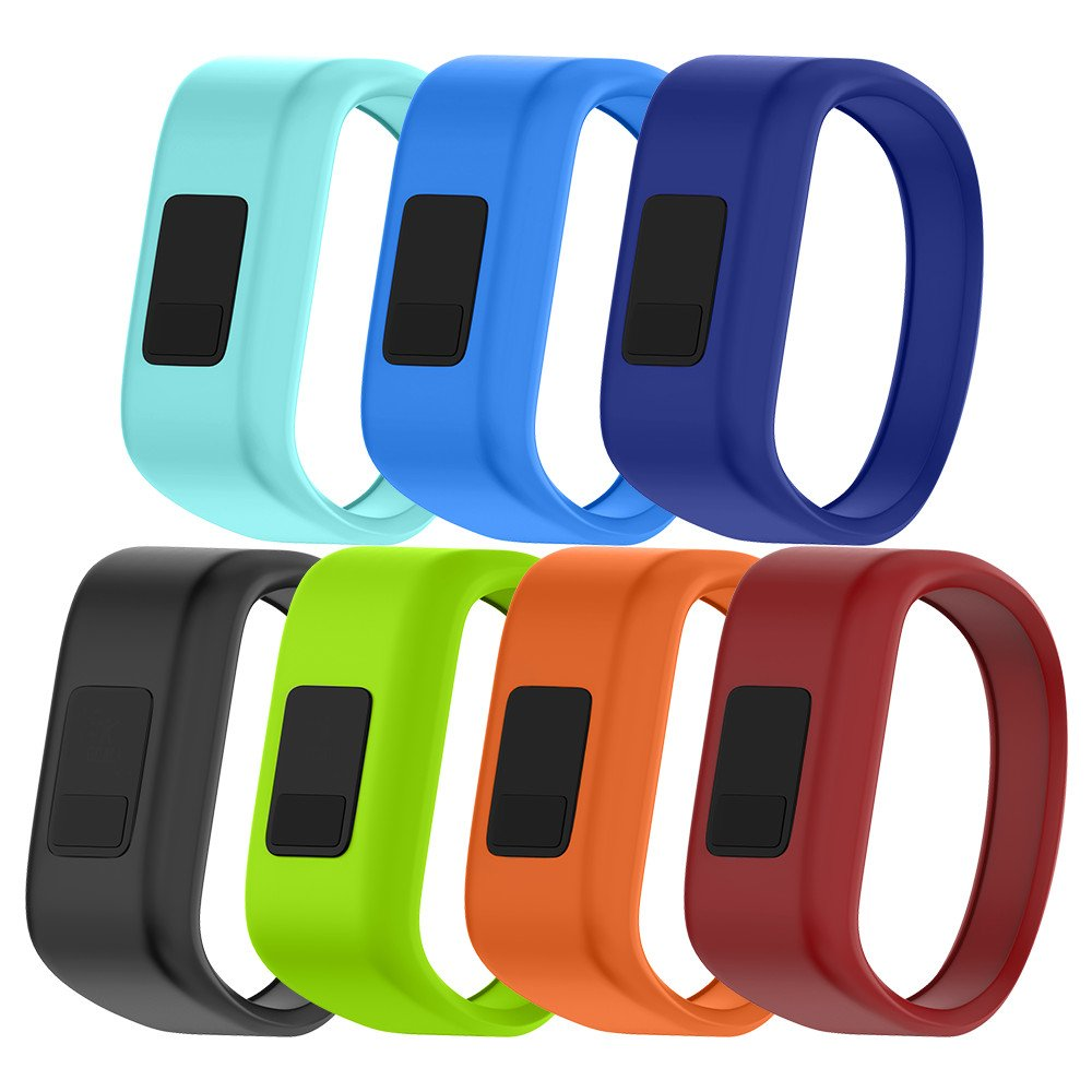 NotoCity Compatible with Garmin Vivofit JR/JR 2/3 Bands,Soft Silicone Replacement Watch Bands for Boy Girls Kids,7 Colors Pack Small