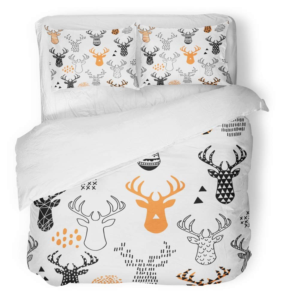 Emvency 3 Piece Duvet Cover Set Breathable Brushed Microfiber Fabric Orange Animal Hand Drawn with Deer Winter Hipster Baby Christmas Silhouette Bedding Set with 2 Pillow Covers Full/Queen Size
