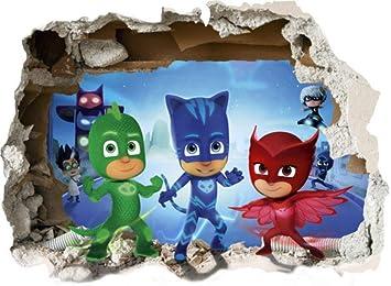 BAOWANG Pegatinas de pared PJ Masks Smashed 3D Wall Sticker Niños Niñas Dormitorio Calcomanía Niños Niños Niñas