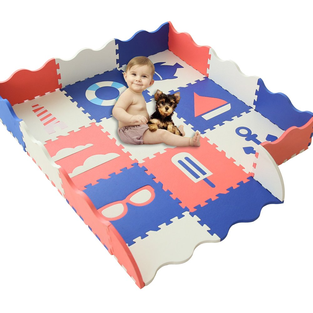 HAN-MM Baby Play Mat with Fence Thick 0.56 Interlocking Foam Floor Tiles Crawl Mat Baby Tiles Play Puzzle Mat with Softer Thicker EVA Foam Mat Sea