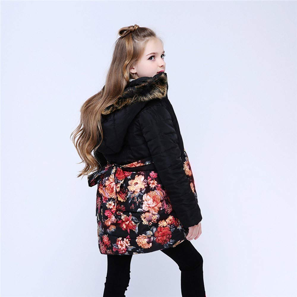Floral Print Fur Hooded Autumn Winter Warm Windproof Coat Zipper Outdoor Jacket WARMSHOP Winter Coats for Toddler Kids Girls