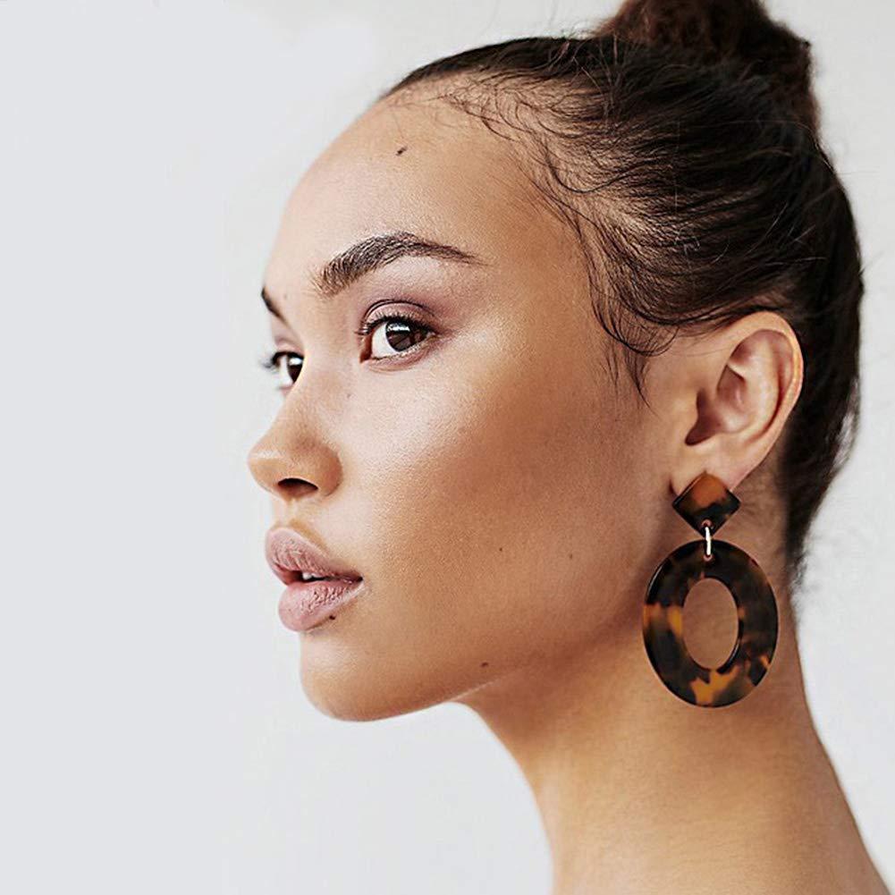 Acrylic Oval Tortoise Earrings-Boho Acetate Leopard Print Dangle Drop Earrings for Women Girls,