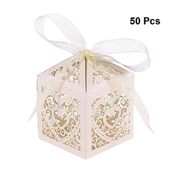 YeahiBaby Cajas de Caramelos Bombones Dulce Chocolate de Papel Cajas de Regalo para Fiesta Boda Decoraciones del Regalo de Cumpleaños Laser 50 Piezas Beige: ...