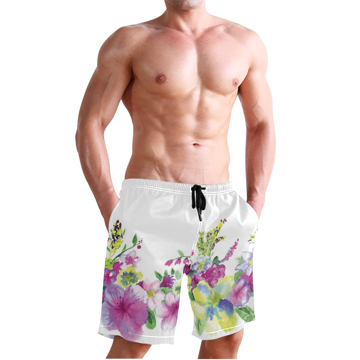 Hungry Animals Grass Looking at Spider Insect World Illustration Worm Ladyb Casual Swim Trunks All