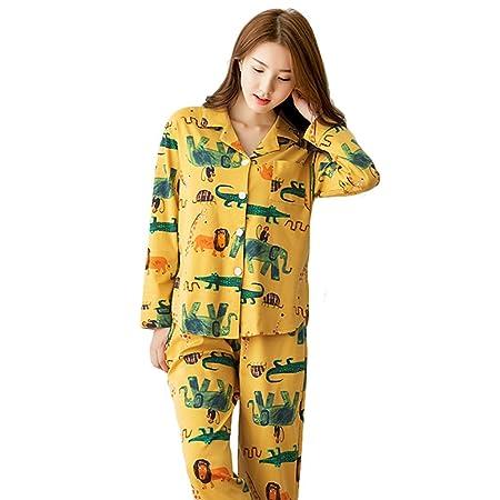 63c1cf8b0f AcFun Women  s Fashion Cotton Pajamas Long - Sleeved Cardigan Cartoon Cute Home  Clothing Set (Color   Yellow