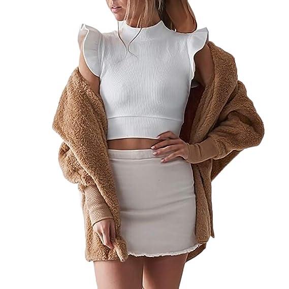 Abrigos Cardigan Mujeres, LANSKIRT Mujer Abrigo Mullido con Aapucha Chaqueta de Invierno Cardigan Jersey de