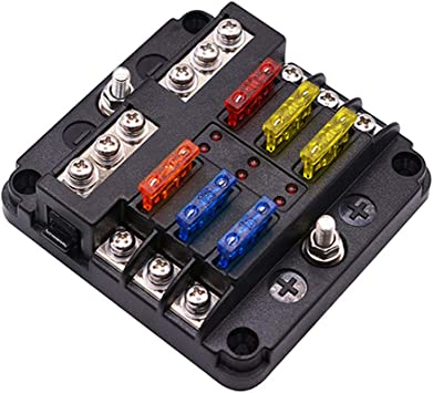 12 Way Car Boat Auto Bus UTV Blade Fuse Box Block Cover 12V LED Indicators New