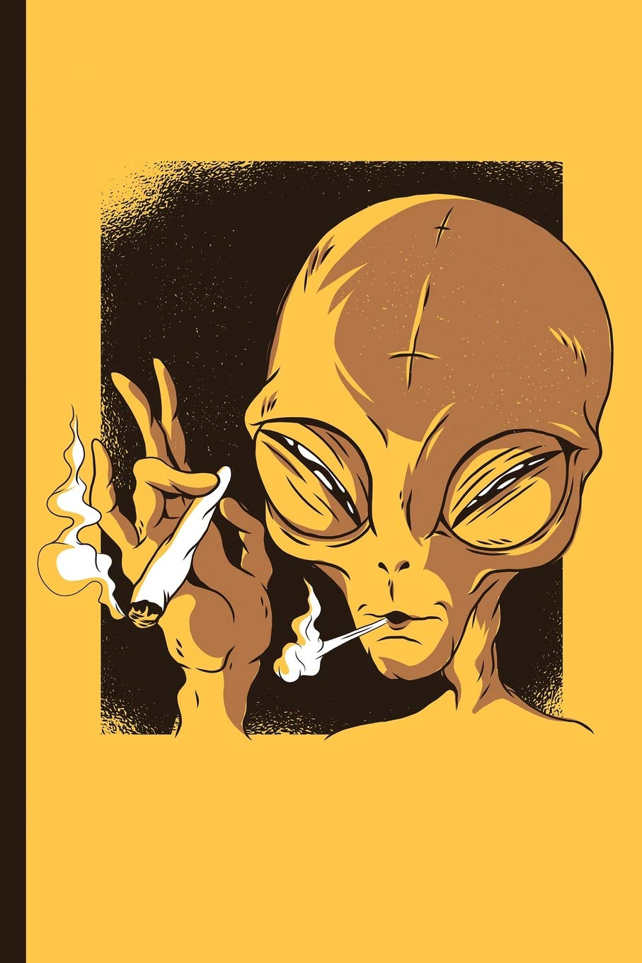 Weed Smoking Space Alien Cannabis College Ruled Notebook