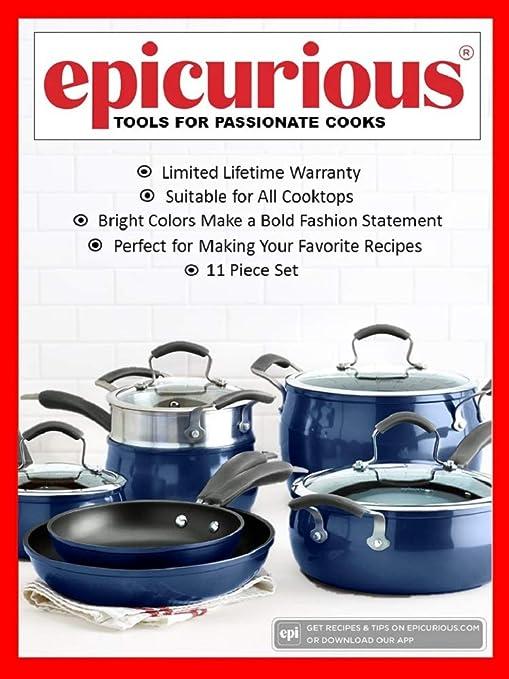 Amazon.com: Epicurious - Batería de cocina antiadherente de ...