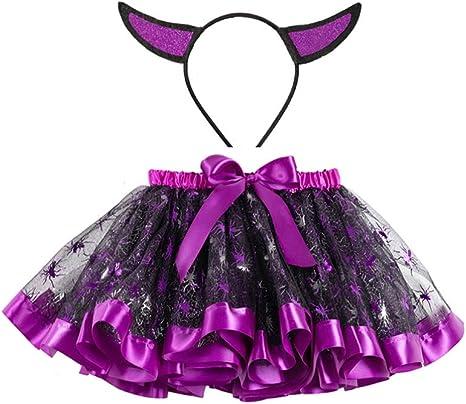 Holibanna - Falda de tutú para niña, Halloween, con Cuerno Malvado ...
