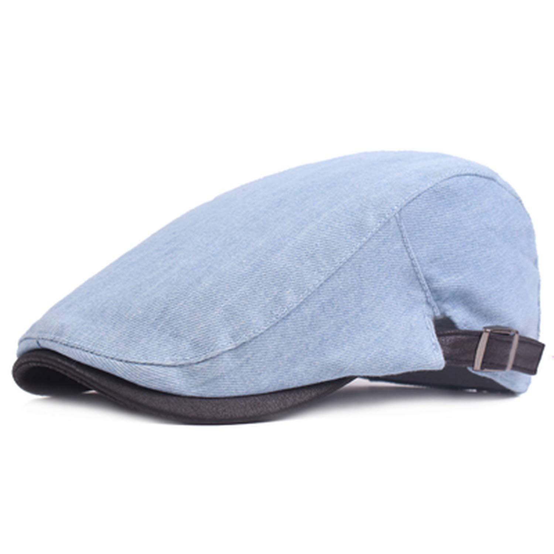 UKURO Newsboy Beret caps Mens Womens Washed Denim hat Octagonal Cap Spring Autumn Beret Hats Men