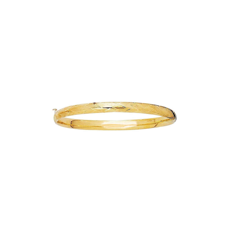 14k Yellow Gold 5.5 Inch Polish Finish X Pattern Girls Bangle Bracelet