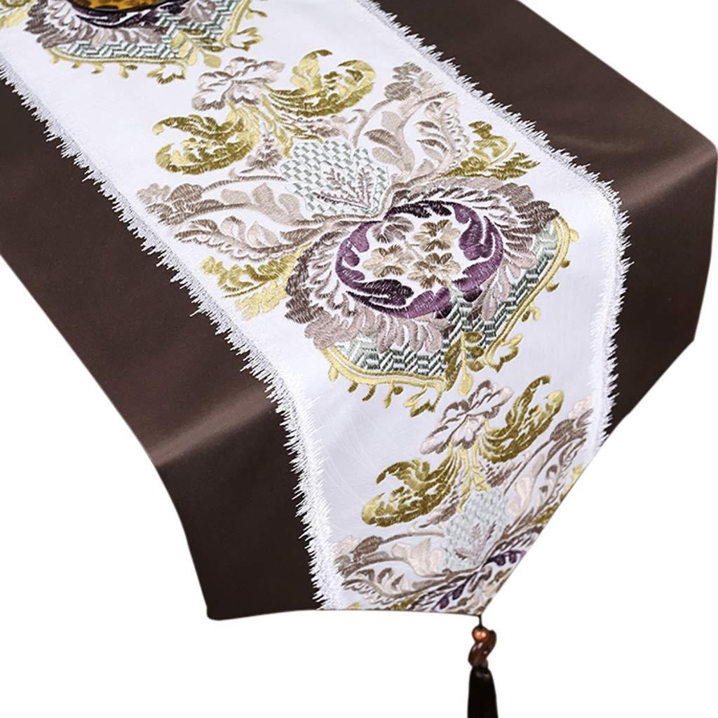 シンプルな刺繍テーブルランナー、ホームコーヒーテーブルテレビキャビネット美しく装飾された、ペンダントデザインのファブリック(色:ブラウン) (色 : Brown, サイズ さいず : 32×260cm) 32×260cm Brown B07Q2DB5JH