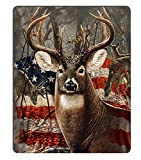 Wknoon Deer Hunting Season with USA Flag Gaming Mouse Pad, 9.45 X 7.87 Inch (240mmX200mmX3mm)