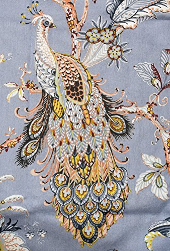 Jacobean Floral Print - Tahari Home Window Curtains Peacock Jacobean Birds Flowers 50-by-96-inches 100% Cotton Set of 2 Window Panels Pair Drapery Floral Branches Vines Lilac Blue Mustard Grey Taupe Beige Rust