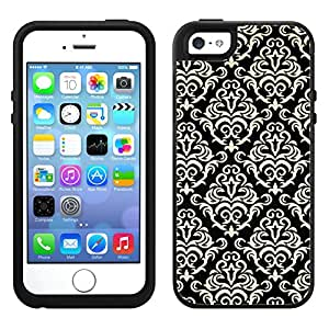 Skin Decal for OtterBox Symmetry Apple iPhone 5 Case - Beautiful Vintage Pattern on Black