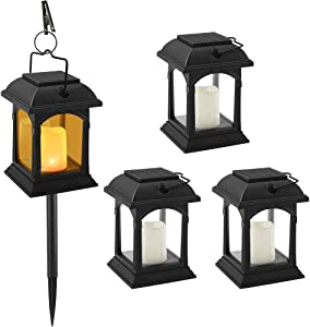 Solar Lanterns Outdoor Hanging Solar Lights, ANDEFINE Decorative Solar Lawn Lamp Flickering Candle Effect Light with Stake for Garden/Patio/Yard/Table/Umbrella/Landscape (4 Pack)