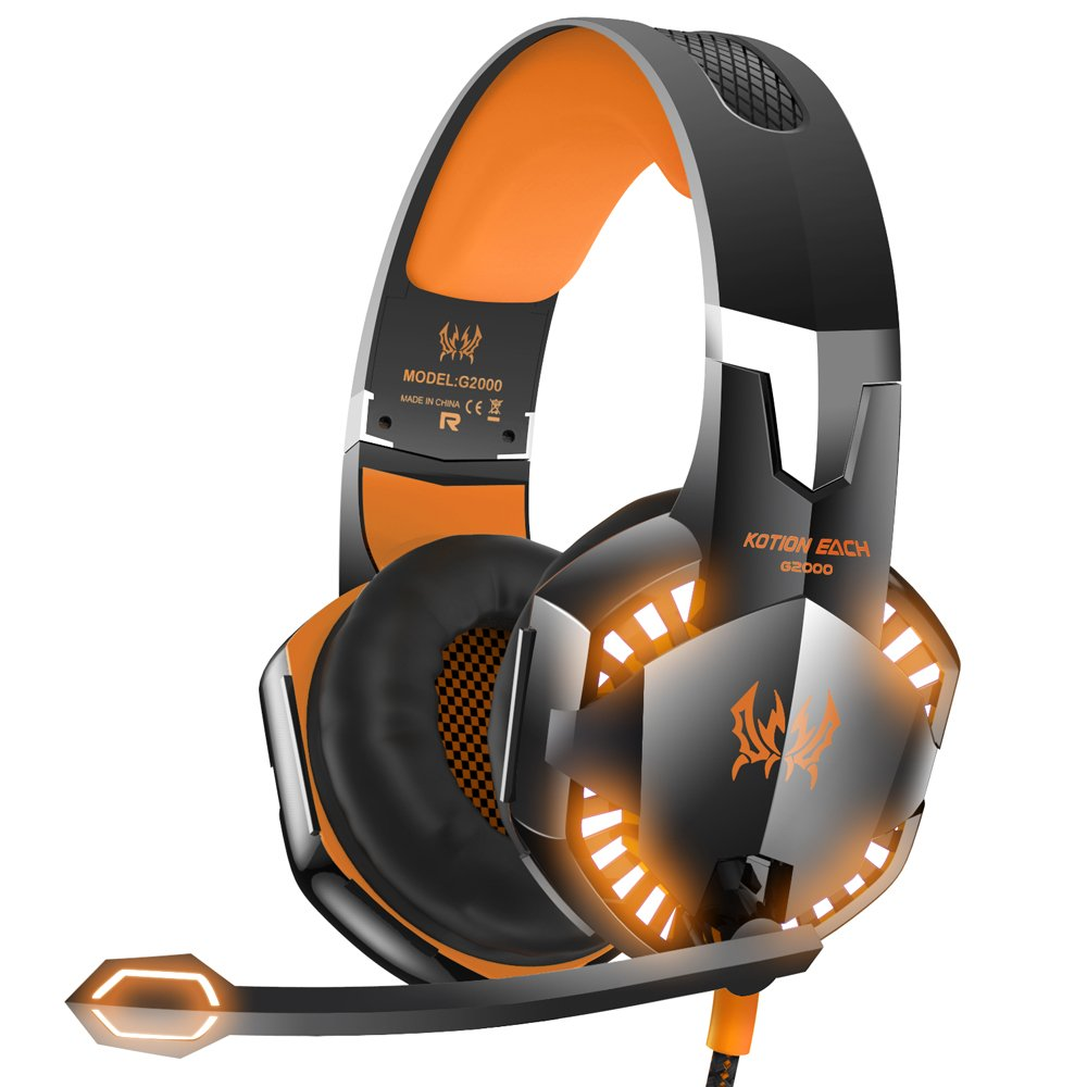 VersionTech G2000 Stereo Gaming Headset for Xbox one PS4 PC, Surround Sound Over-Ear Headphones with Noise Cancelling Mic, LED Lights, Volume Control for Laptop Mac PS3 iPad Nintendo Switch - Orange