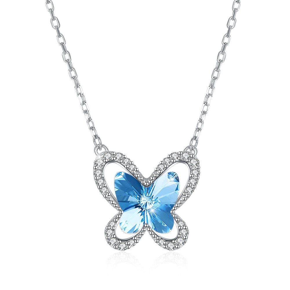 Kalapure Butterfly Pendant Necklace with 925 Sterling Silver Swarovski Elements Crystal Necklace