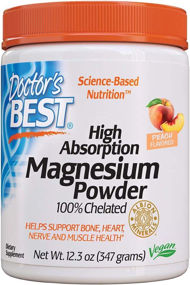Doctor's Best High Absorption Magnesium Powder (Peach Flavored) 100% Chelated TRACCS, Not Buffered, Headaches, Sleep, Energy, Leg Cramps, Gluten Free, Vegan, Peach, 12.3Count