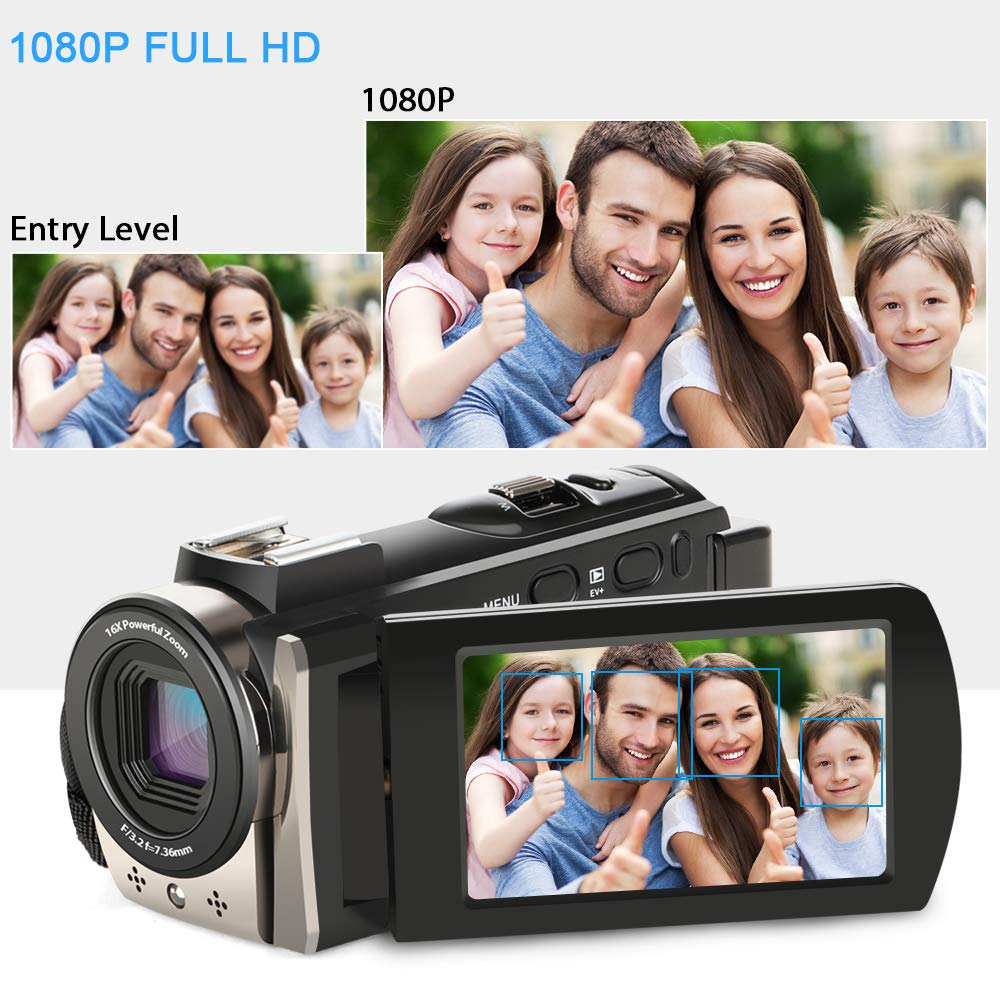 Video Camcorder,ACTITOP FHD 1080P Camcorder 24MP 16x Digital Zoom Camcorder Camera Support External Microphone, LED Light,Wide Angle Lens Handy Camera